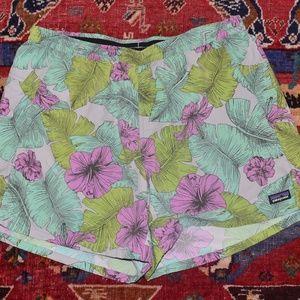 PATAGONIA Long Baggie Tropical Hibiscus Shorts L